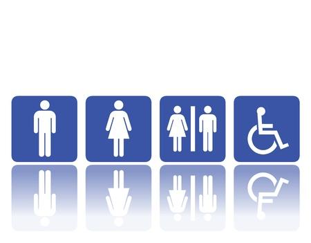 a restroom: symbols for toilet, washroom, restroom, lavatory. Illustration