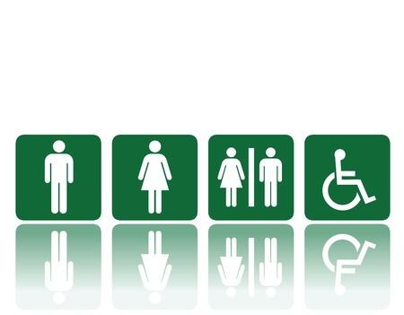restroom: symbols for toilet, washroom, restroom, lavatory. Illustration