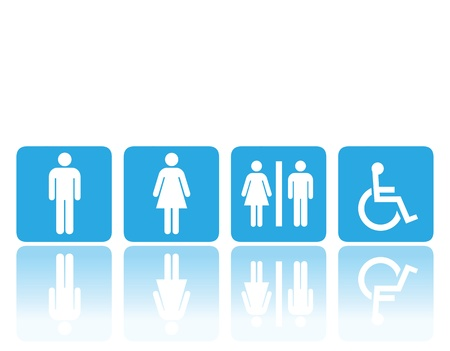 unisex: symbols for toilet, washroom, restroom, lavatory. Illustration