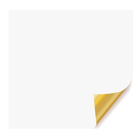 peeling corner: realistic paper page with gold plated corner curl effects. Illustration