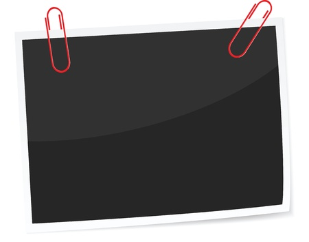 snapshots: a photo with paper clip, vector format, paper clip can be moved around. Illustration