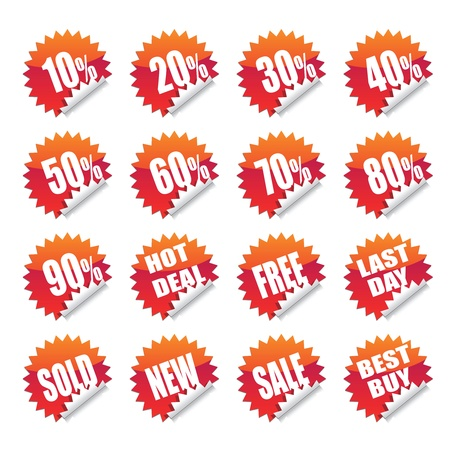 sales sticker tag with discounted percentage and other message. Stock Vector - 11823340