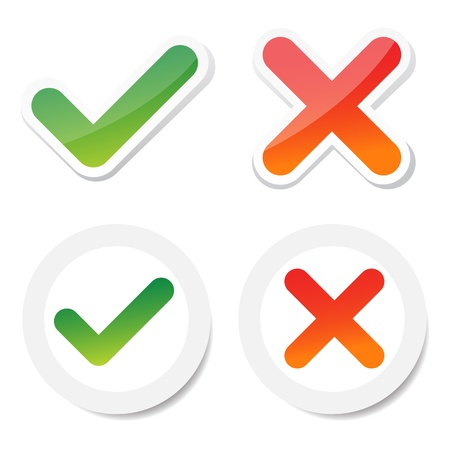 to tick: garrapatas y cruz pegatina, para la elección del consumidor. Vectores