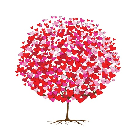 illustrations of tree with hearts for valentines day Vector