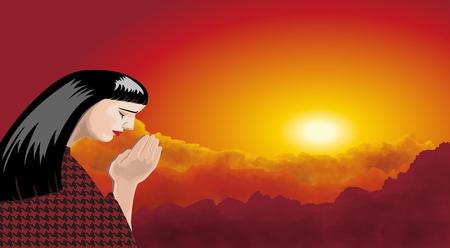 A praying woman with sunset landscape photo