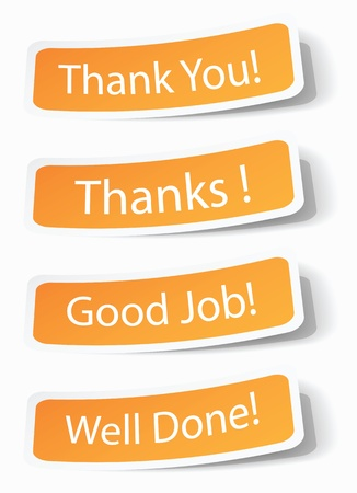encouraging: Thank you notes as stickers with shadow effects.
