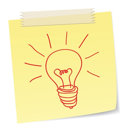 inspired: a hand drawn bulb symbol on a notes ,for ideas or innovation concepts. Illustration