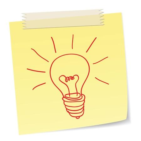 uitvinder: een met de hand getrokken gloeilamp symbool op een notities, ideeën of innovatie concepten.