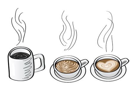 cappucino: doodle illustraties van koffie drinken, zwarte koffie, cappucino en latte. Stock Illustratie
