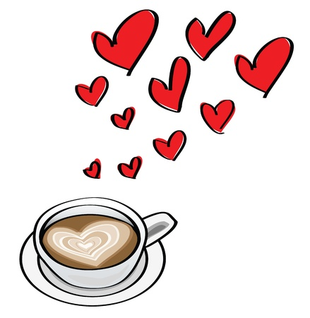 barista: doodle illustrations of valentine dating concepts, with heart shaped latte. Illustration