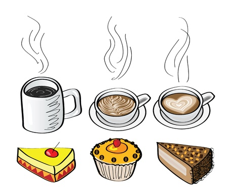 doodle illustrations of coffee and cakes.