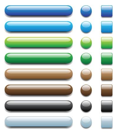 Botones de colores brillantes, con tonos claros y oscuros, otro grupo con diferente color en mi perfil. Foto de archivo - 12231935