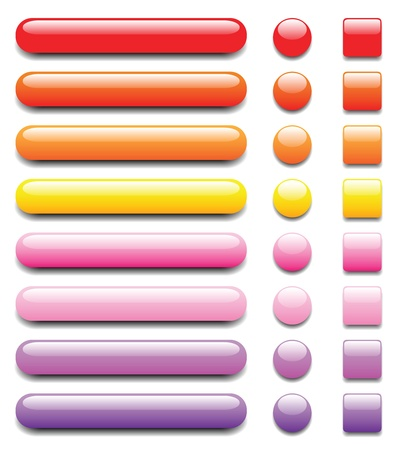 menu buttons: shiny colorful buttons, with dark and light tones, another set with different colour is in my profile. Illustration