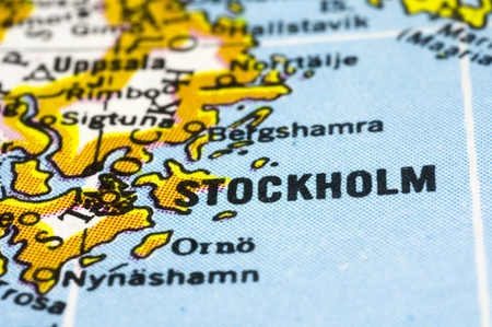 Stockholm, a close up shot of capital of sweden on map. photo