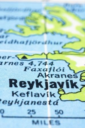 A close up shot of Reykjavík on map, capital of Iceland. Stock Photo - 13314312
