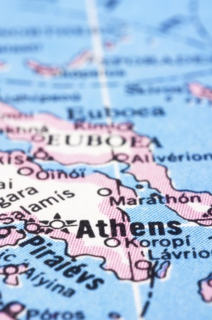 a close up shot of Athens on map, capital of Greece. Stock Photo - 13314545