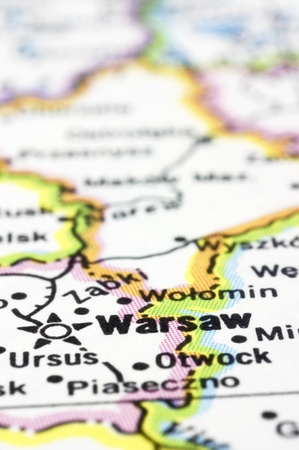 a close up shot of Warsaw on map, capital of Poland. Stock Photo - 13314690