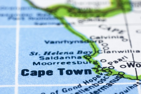 a close up shot of Cape Town on map, south africa. photo