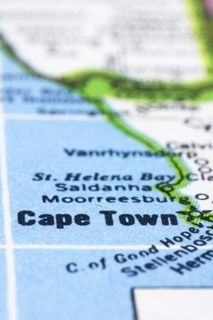 south africa map: a close up shot of Cape Town on map, south africa.