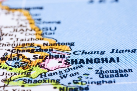 a close up shot of shanghai on map, city of china. photo