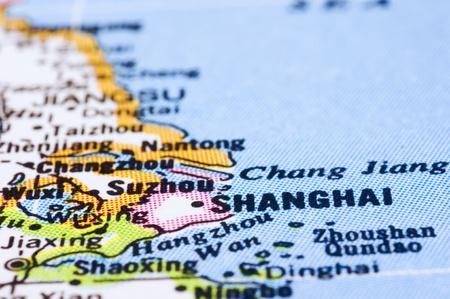 mapa china: un disparo cerca de Shanghai en el mapa, la ciudad de China.
