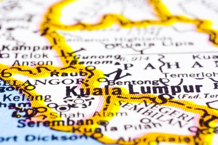 a close up shot of kuala lumpur on map, capital city of Malaysia