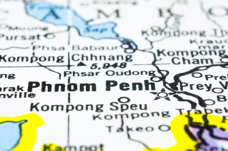 penh: a close up shot of Phnom Penh on map, capital of Cambodia. Stock Photo