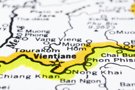 vientiane: a close up of Vientiane on map, capital of Laos.