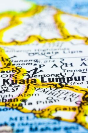 kuala lumpur city: a close up shot of kuala lumpur on map, capital city of Malaysia