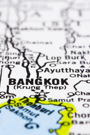 a close up shot of bangkok on map, capital of Thailand. photo