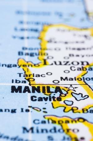 manila: a close up shot of Manila on map, capital of philippines.