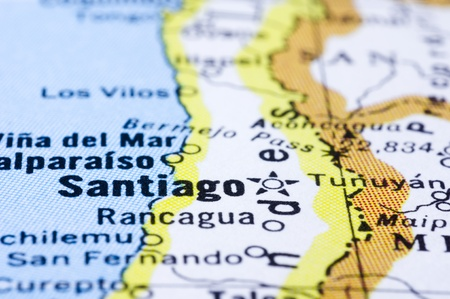 south america map: a close up shot of Santiago on map, capital of Chile.