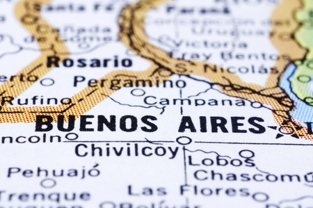 aires: A close up shot of Buenos Aires on map, capital of Argentina.
