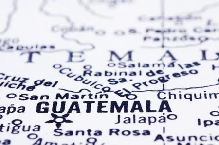 guatemala: a close up shot of Guatemala city on map, Guatemala, central america.
