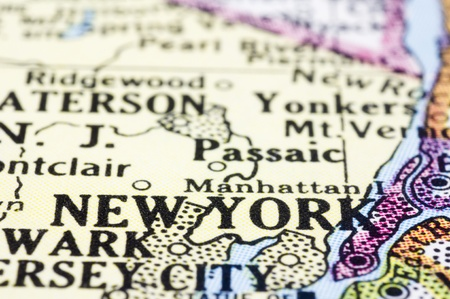 new york map: a close up of new york on map, united states.