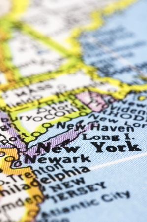 new york map: new york close up on map, shallow depth of field