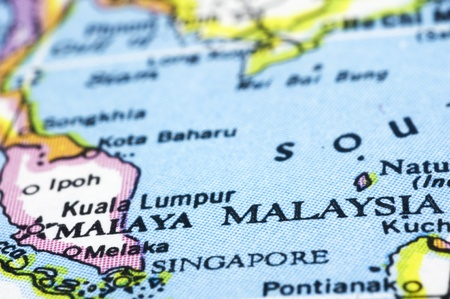 malaysia close up on map southeast asia countries photo