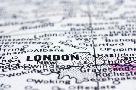 close up London on map.London is capital city of England and the United Kingdom. Stock Photo - 13314566