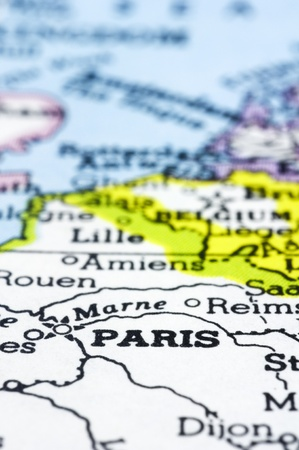 A close up of Paris on map, a city of France. Stock Photo - 13314593