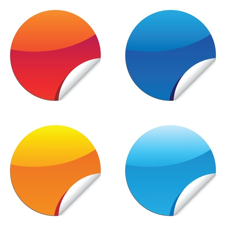 un conjunto de pegatinas brillantes de la etiqueta para la etiqueta el precio de venta o un mensaje. Ilustración de vector