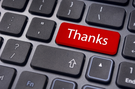 a thanks message on enter key of keyboard Stock Photo - 13812240