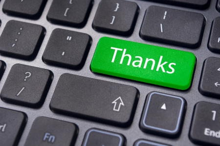 a thanks message on enter key of keyboard  Stock Photo - 13812251