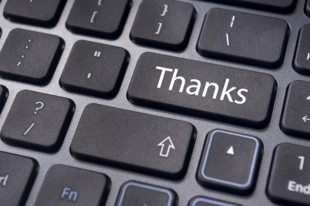 a thanks message on enter key of keyboard. photo