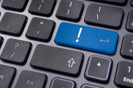 cautions: concepts of computer system errors or warnings, with an exclamation mark on it. Stock Photo