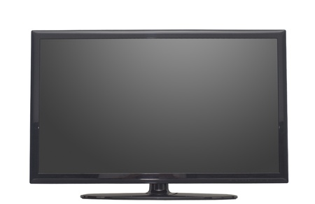 lcd tv: isolated flat screen tv or computer monitor Stock Photo