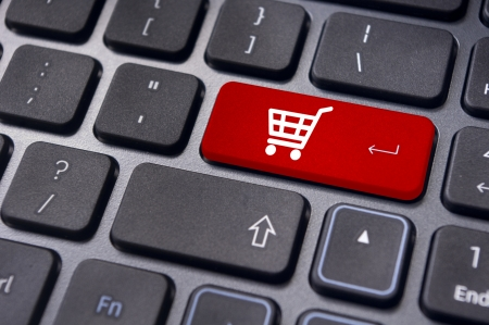 message on keyboard pad, for online shopping concepts. Stock Photo - 14396036