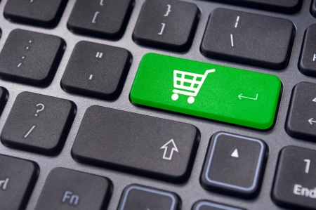 e shopping: message on keyboard pad, for online shopping concepts.