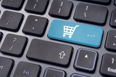 e cart: message on keyboard pad, for online shopping concepts.