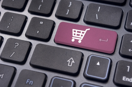 message on keyboard pad, for online shopping concepts. photo
