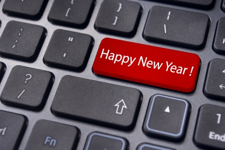 Photo of close up on keyboard pad enter key, for new year greetings and concepts. photo